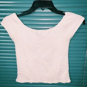 brandy melville white off the shoulder top